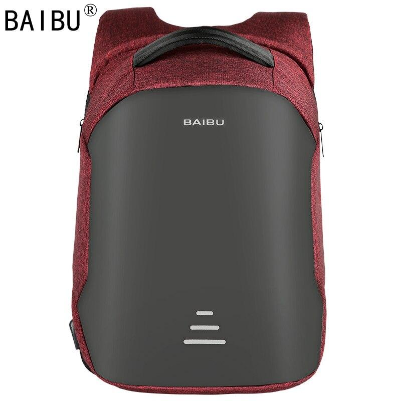 BAIBU גברים תרמיל נגד גניבה עמיד למים USB טעינת מחשב נייד תרמיל תלמיד בית ספר נשים בני נוער נסיעות תיק