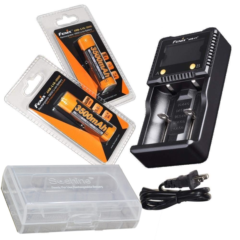 Regrouper: Fenix ARE-C1 + Plus smart chargeur de batterie, 2 pcs Fenix ARB-L18-3500 18650 Rechargeable Li-ion Batteries avec batterie cas