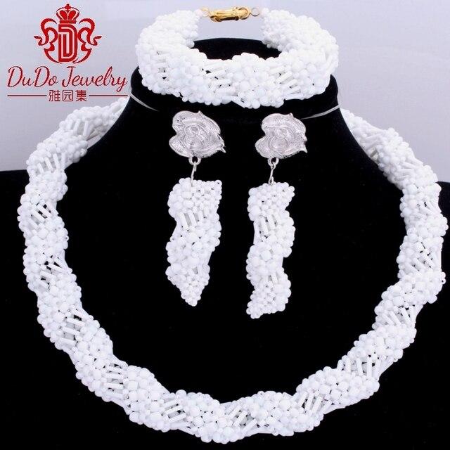 2017 Newest African Beads Pure White Jewelry Sets  Nigerian Women Bridal Wedding Jewelry Brand Fashion Bridal Jewelry Sets Hot