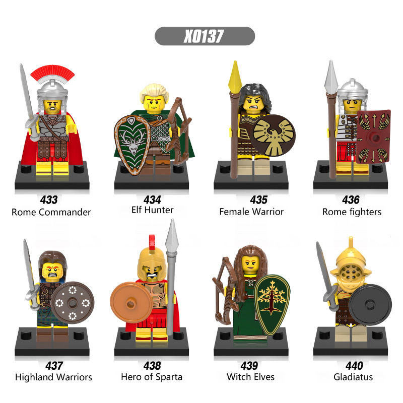 Single Legoing Heroes Of Sparta DIY Blocks Elf Hunter Gladiatus Rome Medieval Knights Building Blocks X0137 Toys For Children