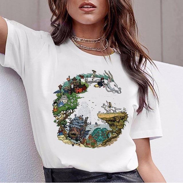 Funny Totoro T Shirt Women Top Tee Shirts Spirited Away T-shirt Studio Ghibli Tshirt Japanese Anime Graphic Harajuku Female