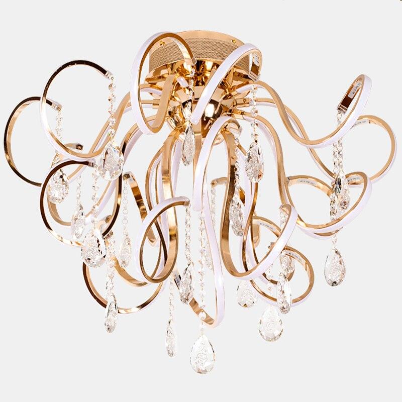 Creative personality modern simple led chandelier living room lights K9 crystal luxury ceiling restaurant bedroom lights