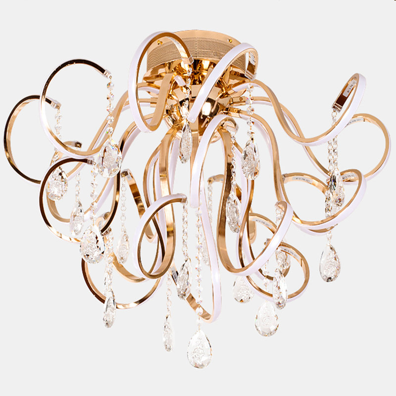 Creative personality modern simple led chandelier living room lights K9 crystal luxury ceiling restaurant bedroom lights Lamps best price luxury crystal chandelier k9 crystal lamp living room bedroom modern restaurant round creative led lamps lighting