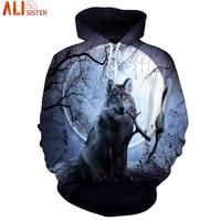 EUR Plus Size Wolf Hoodies 3d Print Animal Wolf Men S Hoody Sweatshirt Alisister Hip Hop