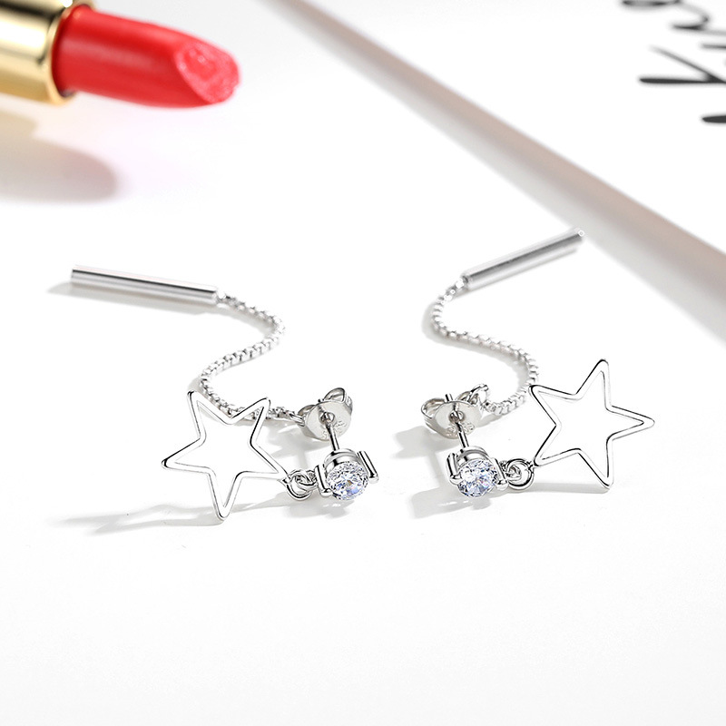 100 925 sterling silver fashion shiny crystal little star ladies tassels stud earrings jewelry women wedding gift cheap girl in Stud Earrings from Jewelry Accessories