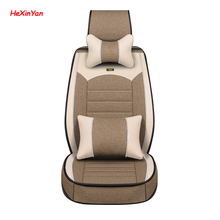 HeXinYan Universal Flax Car Seat Covers for SEAT all models Ateca exeo LEON Toledo arona IBL auto styling accessories car seat covers for seat leon ibiza exeo firm brand soft pu leather front