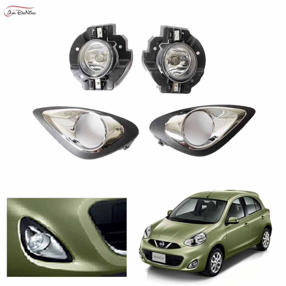 JanDeNing Car Fog Lights For Nissan March /Micra 2013 ~ 2016 Clear Front Bumper Fog Lamp Replace Assembly kit(one Pair) car fog lights lamp for mitsubishi triton 2 door 2009 on clear lens pair set wiring kit fog light set free shipping