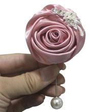6piece /lot Nude Pink Corsage Silver Diamond Wedding Party Man Boutonniere Pin Brooch Decoration Rose XH0675