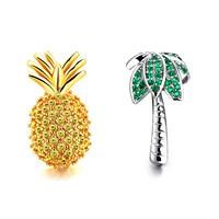 Pineapple Coconut Tree Yellow Big Gems Crystal Earrings Female Temperament Sweet Women Charm Geometry High Quality