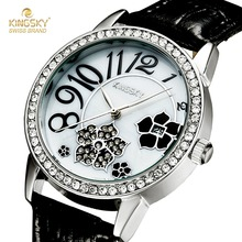 Kingsky Для женщин S Часы лучший бренд класса люкс кварц diamond Часы для Для женщин Повседневное женские часы кожаный ремешок Relogio feminino