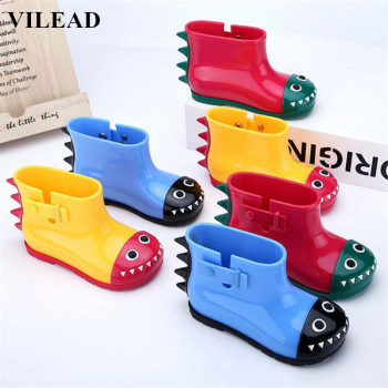 VILEAD Cute PVC Dinosaur Rain Coat Shoes Children Cartoon Water Shoe Baby Boots Non-Slip Waterproof Boy Girls Student Shoes Boot