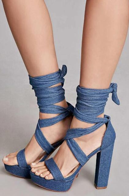 7d8f8b7d5033 New Arrival Classy Denim Block Heel Platform Sandals Blue Jeans Open Toe Chunky  Heel Lace Up Dress Sandals Trend Fashion Shoes