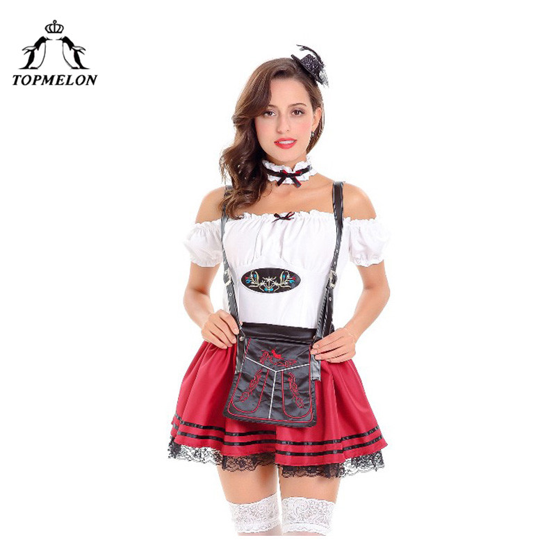 TOPMELON Cosplay Peasant Uniform Women Renaissance Halloween Holiday Shows Plays Costume Set Off Shoulder Irish Mini Dress