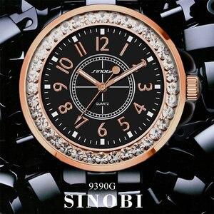 Image 4 - SINOBI Fashion Women Diamonds Wrist Watches Imitation Ceramics Watchband Top Luxury Brand Dress Ladies Geneva Quartz Clock 2020