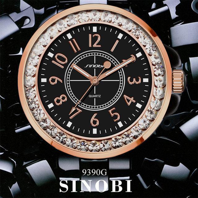 Fashion Women Diamonds Wrist Watch Imitation Ceramics Watchband