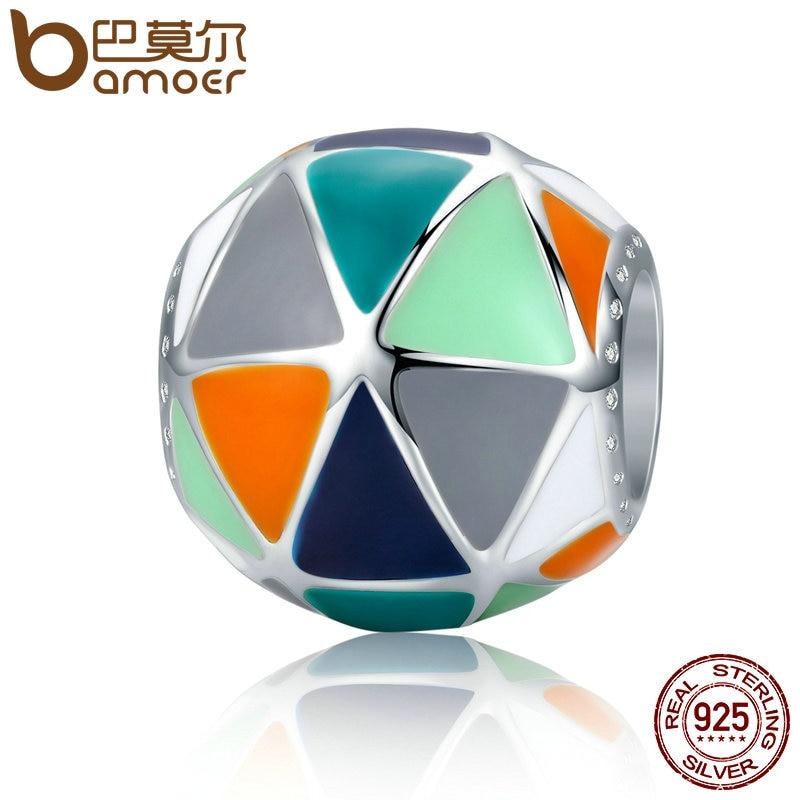BAMOER Fashion New 925 Sterling Silver Art Geometric Triangle Enamel Charms Beads fit Women Bracelets Bangles Jewelry SCC304 серьги art silver art silver ar004dwzmh30