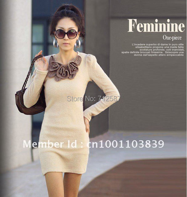 Free shipping Mini Fashion Long Sleeve Butterfly Flower Woollen Sweater Short Dress New #5119