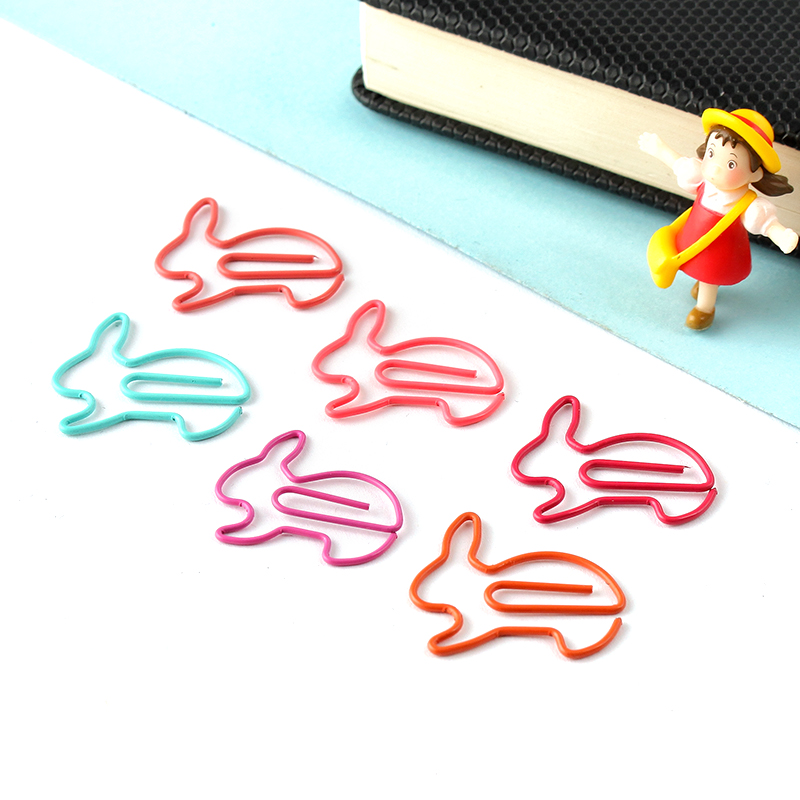 JUGAL 200pcs/lot Kawaii Rabbit Shape Metal Memo Clip Paper Clip Bookmark Clips DIY Novelty Office Learn Stationery