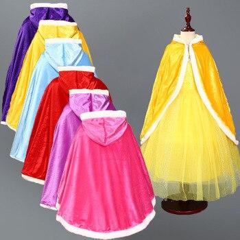 Abrigo para chica Pleuche terciopelo niños Elsa Anna capa Navidad Halloween niñas Sofía Rapunzel Aurora princesa manto traje