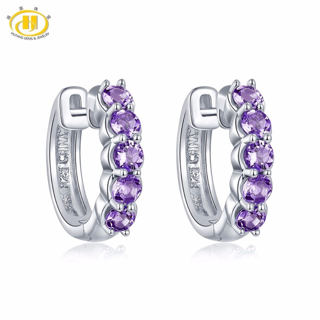 Hutang Stone Jewelry Natural Gemstone Amethyst Solid 925 Sterling Silver Earrings Fine Fashion Jewelry For February Birthstone RGorWaUKkW