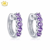 Hutang Stone Jewelry Natural Gemstone Amethyst Solid 925 Sterling Silver Earrings Fine Fashion Jewelry for February Birthstone