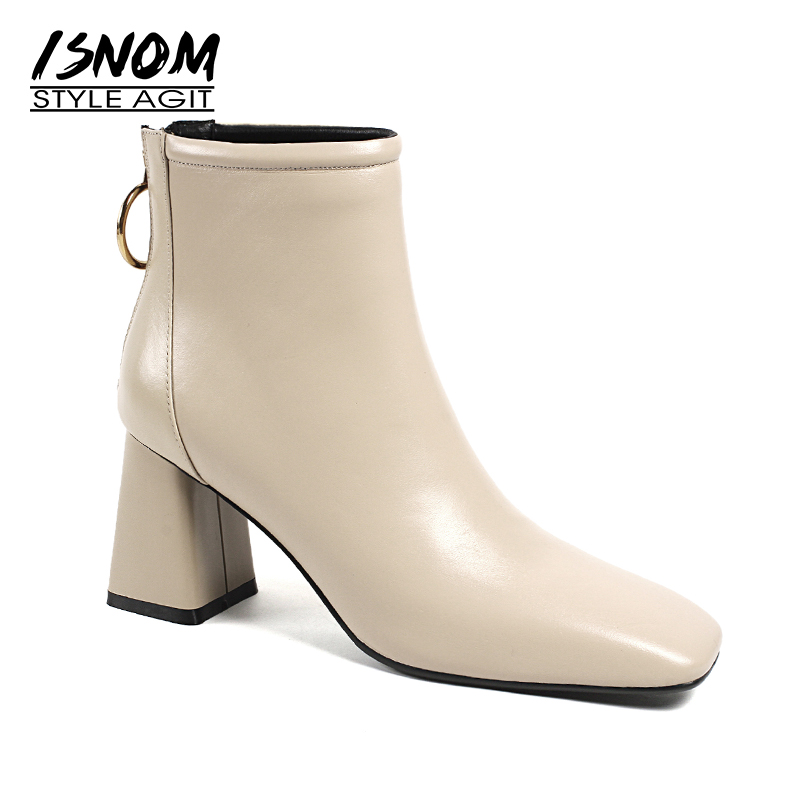 ISNOM Winter Cow Leather Women Ankle Boots Square Toe Footwear Thick High Heels Female Boot Fashion Shoes Women 2018 Black цены онлайн
