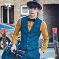 2016 Весной 20% Шерсть Мода Молодой Человек Костюм Жилеты Бренд-Одежда Жилет Мужчин Slim Свадебные Классический Плед Ретро Случайный жилет