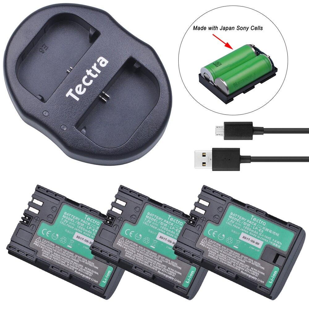 Tectra 3 Pcs LP-E6 LP-E6N Células Japão + Dual USB Carregador de Bateria com Alta Qualidade para Canon 5D Mark II Mark III 6D 7D 60D EOS 5DS