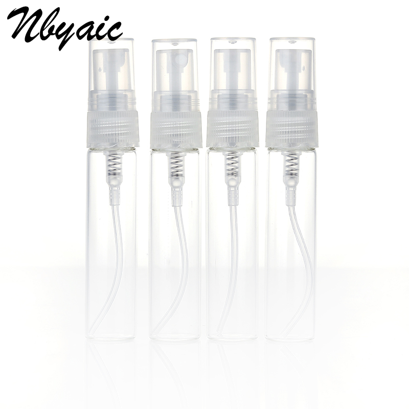 Nbyaic 5Pcs Portable Mini Perfume Bottle Glass Empty Cosmetics Toner Spray Bottle