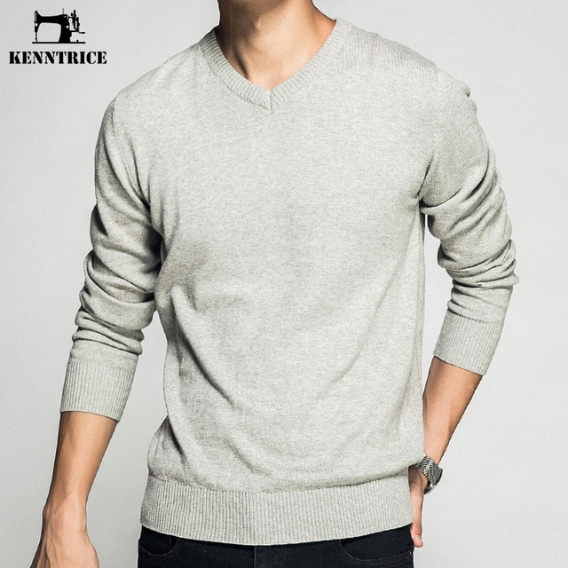 KENNTRICE Autumn Mens Pullover Sweaters V Neck Simple Fashion Vintage Cotton Men Sweaters Jumpers Spring Males Clothing