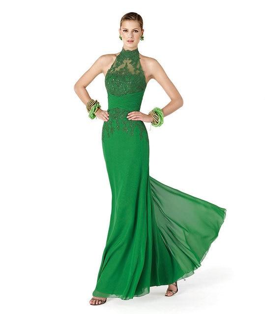 Beaded Halter Top Evening Dress