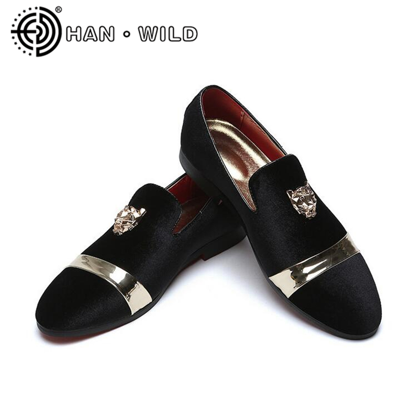 New Fashion Gold Top Men Velvet Dress shoes Plus Size Mens Handmade Loafers Men's Flats Party and Wedding Shoes