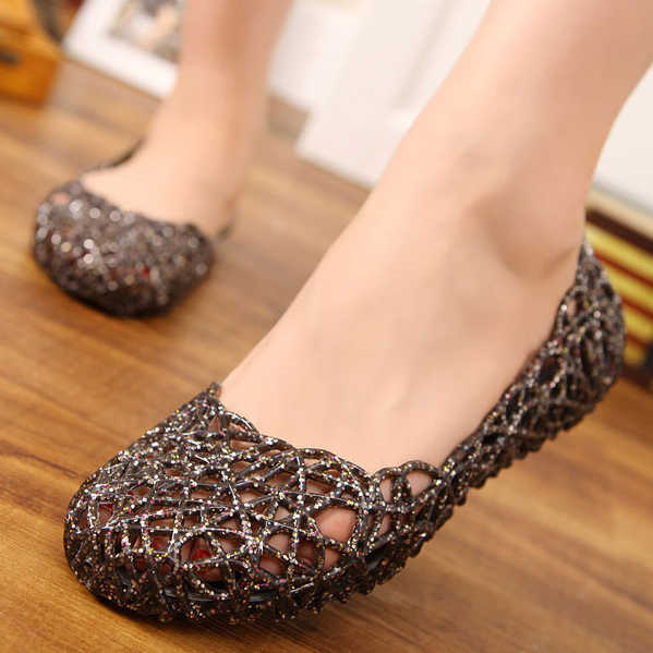 8dca4c058949f ... 2019 Woman Flat Jelly Shoes Hollow out Bird Nest Flats Slip on Loafers Casual  Shoes Beach ...