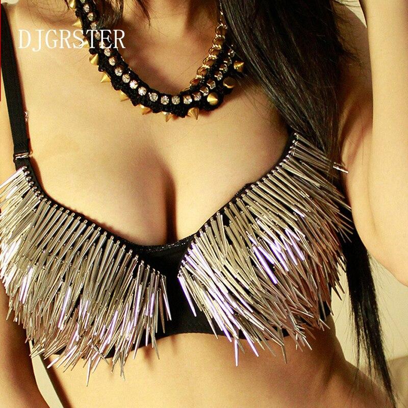 9e17fab28b DJGRSTER Hot Sexy Bra Women Fashion Spike Stud Rivet Bra Gold and Silver  Lingerie Punk Party Wear Clubwear push up Bra for women-in Bras from  Women s ...