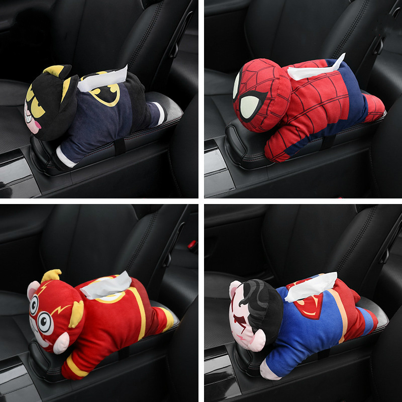 Super Hero Universal Car Armrest Tissue Box Creative Cartoon Cute Holder Interior Products Accessories
