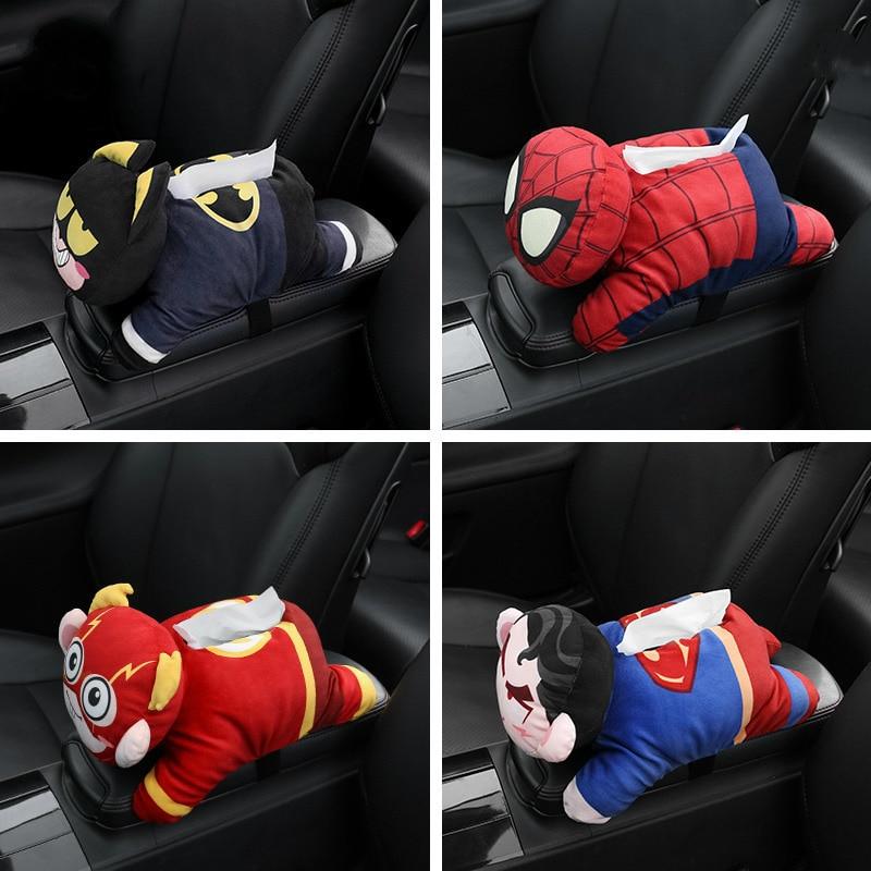 Super Hero Universal Car Armrest Tissue Box Creative Cartoon Cute Tissue Box Holder Car Interior Products Car Accessories