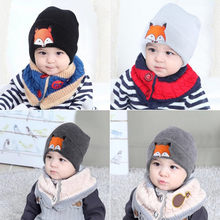 Baby hat Fashion Baby Children Cap Fox Warm Winter Hats Knitted Wool Hemming шапка шапка для девочки(China)