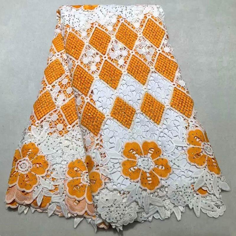 Ev ve Bahçe'ten Dantel'de Sıcak Satış yüksek kaliteli dantel kumaşlar ile taşlar Işlemeli Afrika Suda çözünür dantel kumaş düğün elbisesi 5 Metre NE 003'da  Grup 1
