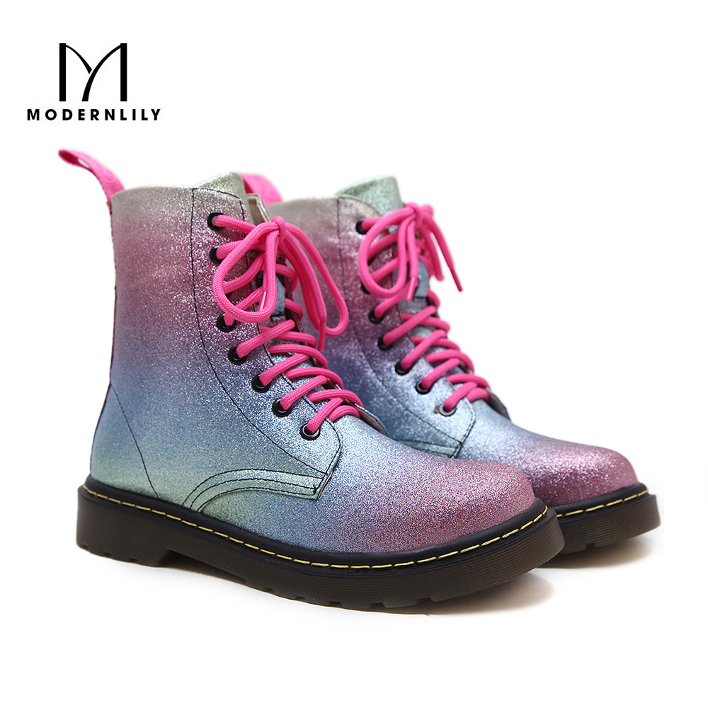 Ankle Boots For Women Bling Bling PU Leather Lace-Up Fashion Women's Winter Flat Platform Boots Botas Mujer Free Shipping free shipping top fashion new mujer botas 2016 winter women boots 100