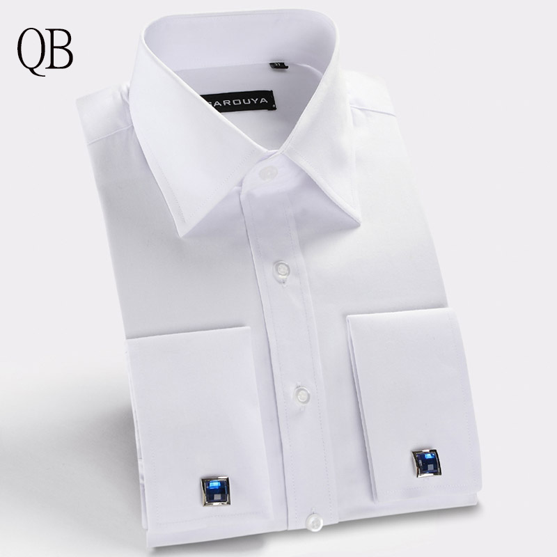 Mens white french cuff dress shirt with cufflinks men White french cuff shirt slim fit