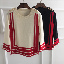 high quality women's 100% wool striped sweater autumn fashion knitted short cute beige warm jumper sweater with gold button