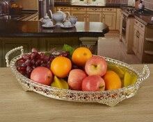 46*30 см большой размер посеребренные металлические тарелки с фруктами фрукты лотки украшения для свадьбы украшения дома Подносы SG045