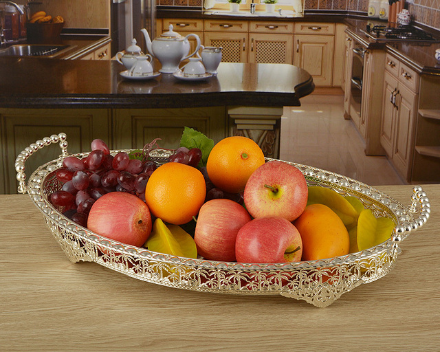 46 30cm Large Size Silver Plated Metal Fruit Plates Trays Decoration For Wedding Home