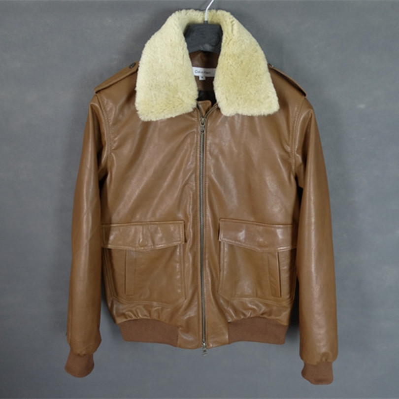 2016 real fur collar genuine leather jacket men tan leather bomber jacket  men spring sheepskin coat brown pilot jacket for men-in Faux Leather Coats  from ... - 2016 Real Fur Collar Genuine Leather Jacket Men Tan Leather Bomber