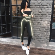 Reflective Striped Two Piece Fashion Slim Pants Black Bodycon Tracksuit Women Sexy Club Outfits Sweatsuits