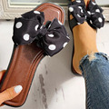 Nova mulher apartamentos chinelos bolinhas design bowknot dedo do pé aberto sandálias femininas flip flops conforto slides moda senhoras sapatos de praia