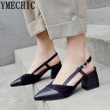 dd5efdc57e091d YMECHIC 2019 été bloc talon femmes chaussures noir Beige chocolat  Slingbacks chaussures à talons hauts bout pointu grande taille.