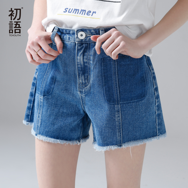 Toyouth 2017 New Arrival Summer Style Women Denim Shorts  Mid Waist Jeans Casual Moustache Effect Pants wangcangli jeans women shorts light blue large size denim fat sister elastic waist mid waist jeans moustache effect summer 4xl