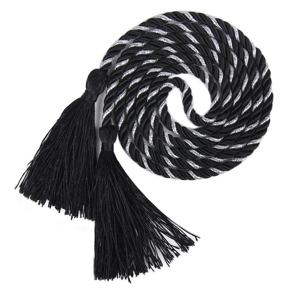 2pcs Living Room Bedroom Tassel Rope Curtain Tiebacks Tie Backs (Black+Silver)