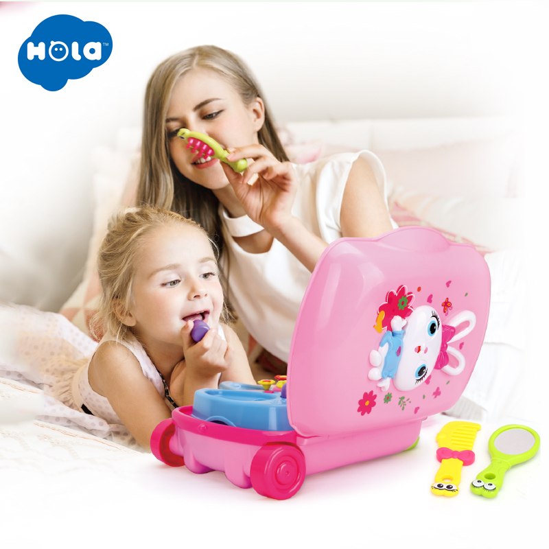 HOLA 3109 Pretend Play Make up Dress Toys Luggage Suitcase Toy Set Children Dollhouse Furniture Play